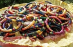 Different coloured silk Bangles